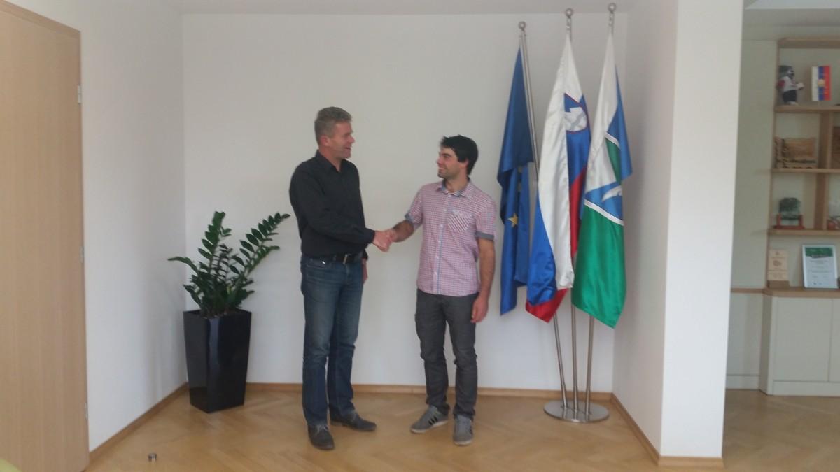 Župan sprejel 27-letnega Jakoba Dolinarja, mladega gospodarja leta 2017